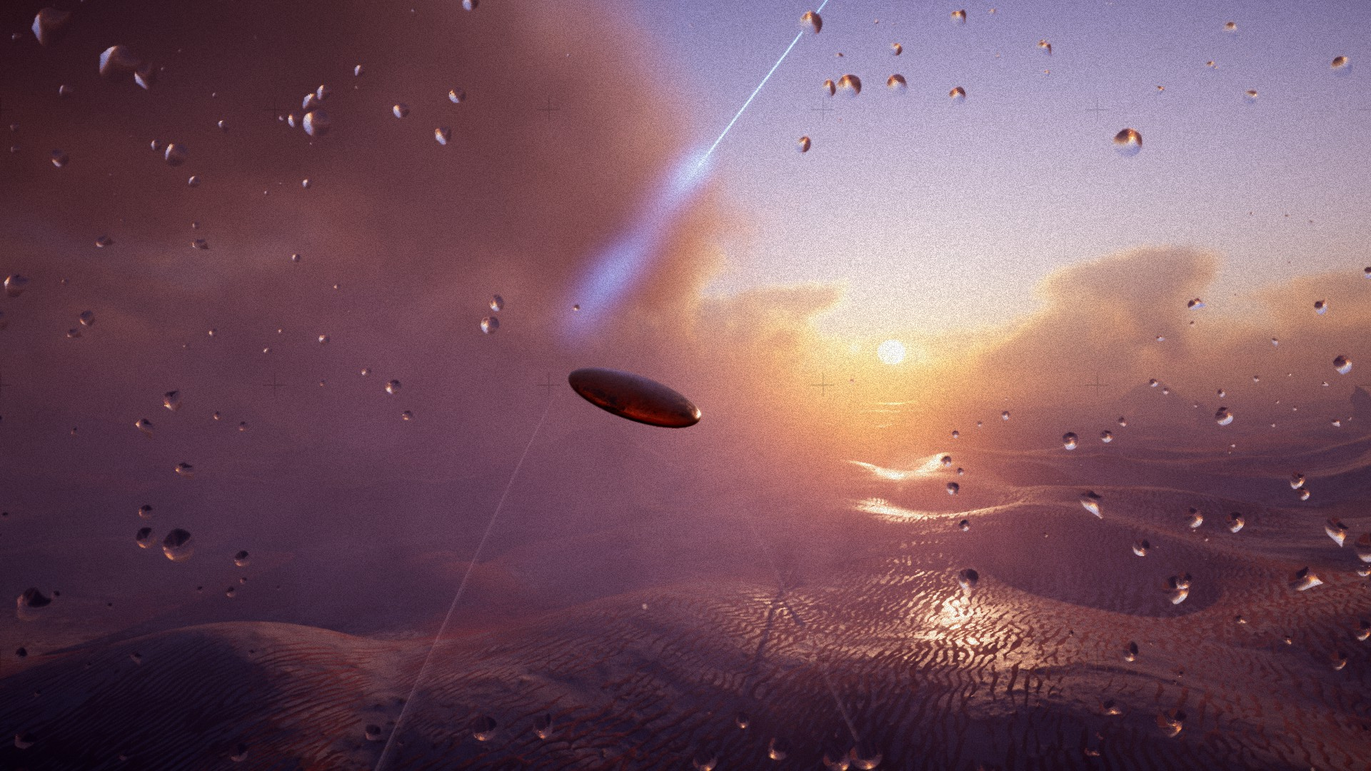 Guide a shape-shifting spacecraft through serene alien worlds in Exo One