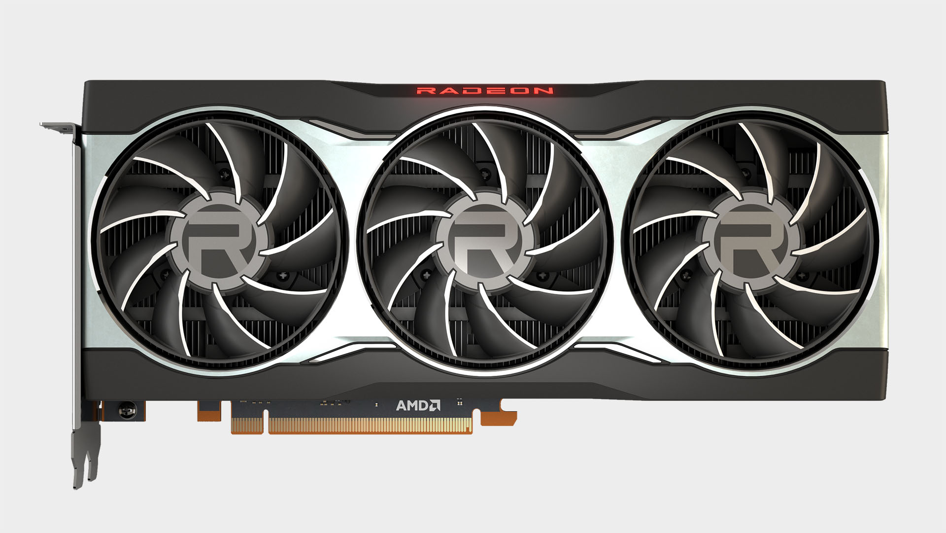 AMD Radeon RX 6800 graphics card shot from above on a blank background