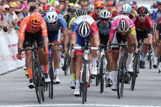 Groupama-FDJ's Arnaud Démare (centre) wins stage 4 of the 2019 Tour de Wallonie in Lierneux