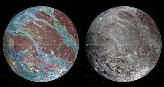 Maps of Jupiter's largest moon Ganymede based on Voyager and Galileo data.
