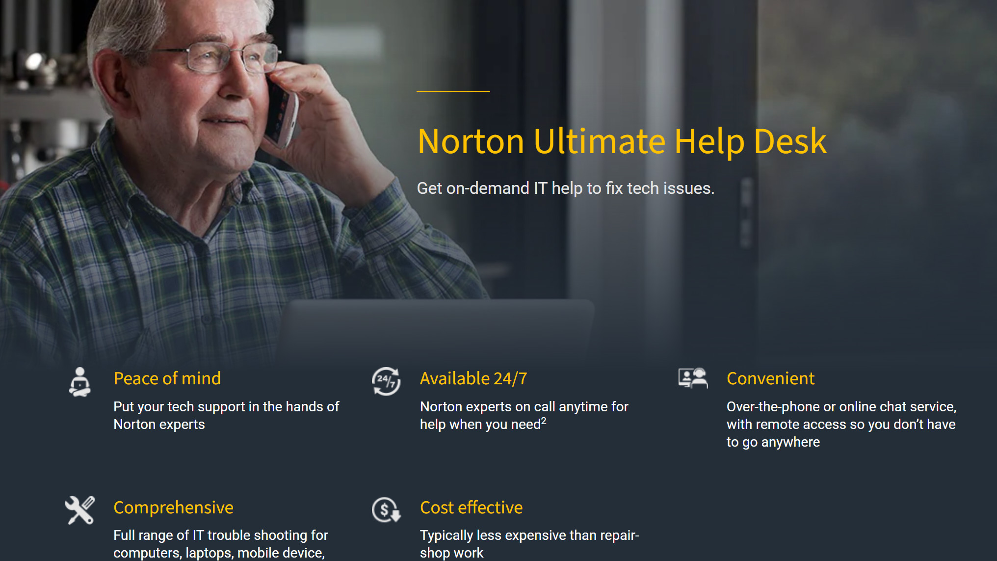 Norton Ultimate Help Desk website showing customer calling