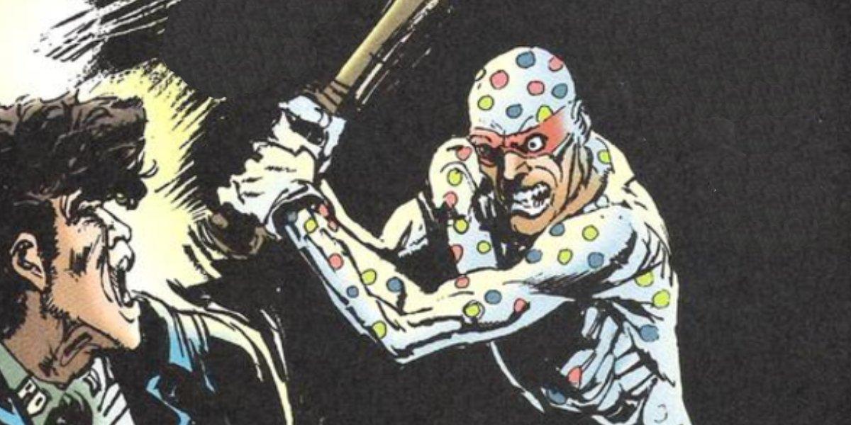 Polka-Dot Man robbing a store with a baseball bat