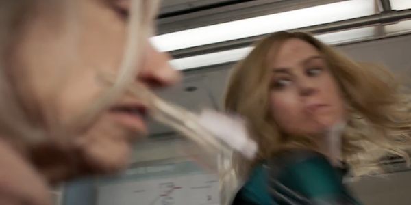 Brie Larson punching a Skrull disguised as a grandmother