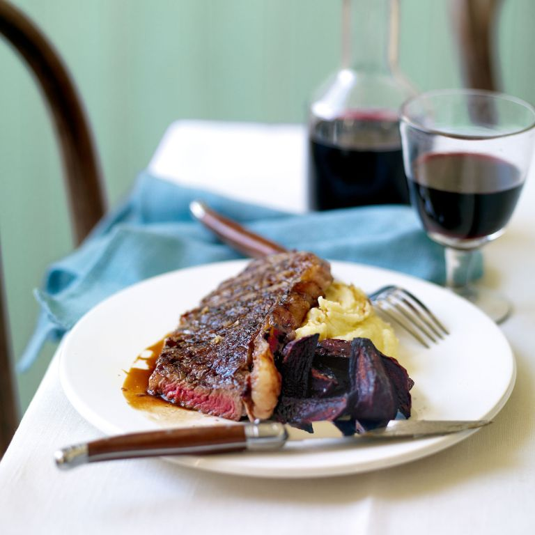 Pomegranate Molasses Griddled Steak, with Roasted Beetroot and Garlic Mash recipe-woman and home