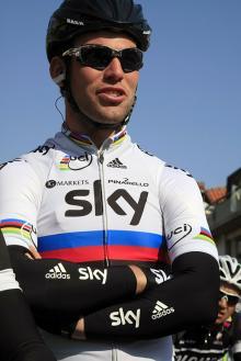 World champion Mark Cavendish (Sky) awaits the start in Martinsicuro.