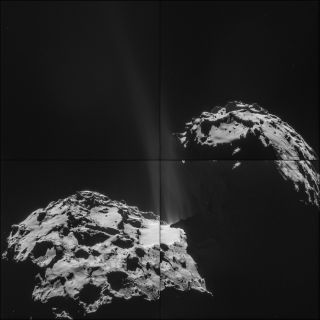 Comet 67P/Churyumov-Gerasimenko with a tail, space