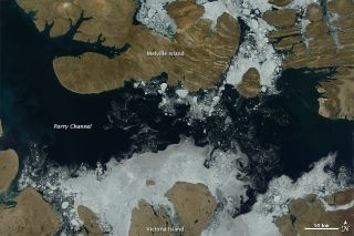 Ice melting in the Northwest Passage