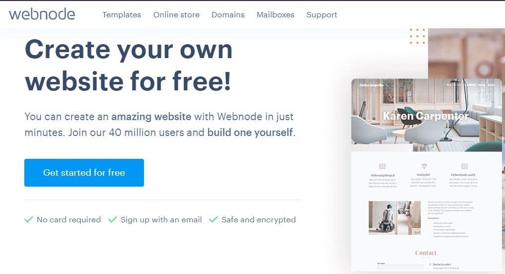 Webnode's homepage