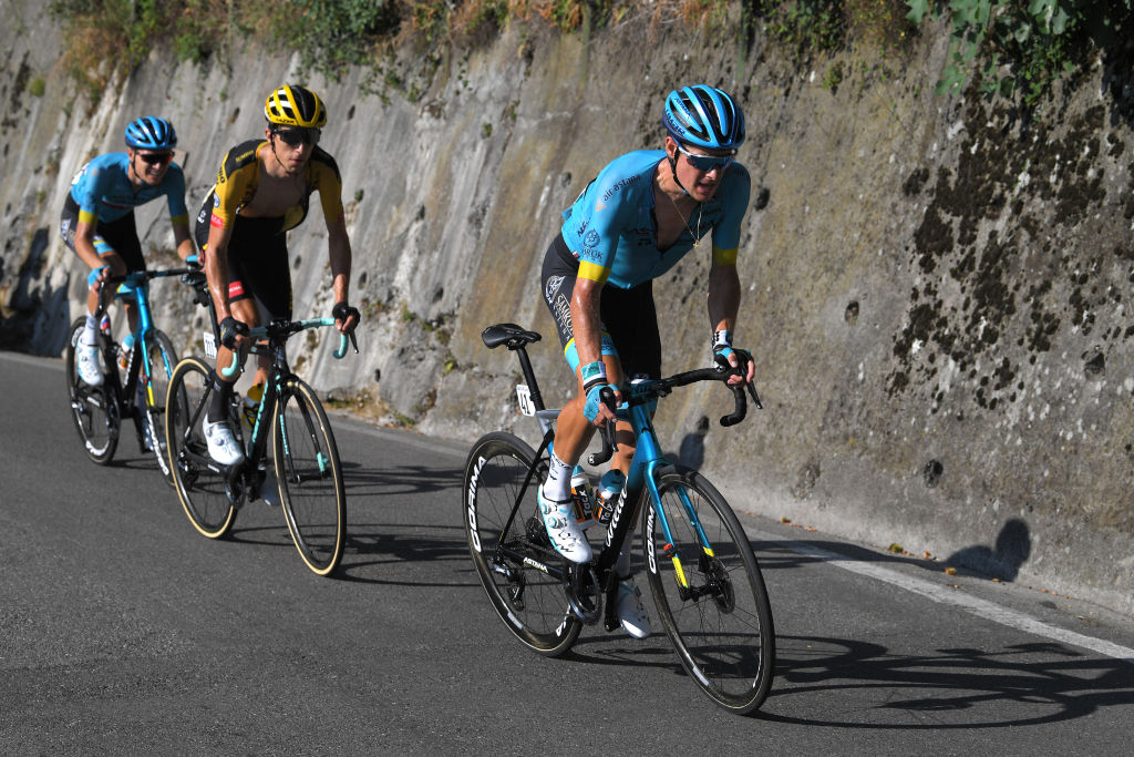 COMO ITALY AUGUST 15 Aleksander Vlasov of Russia and Astana Pro Team George Bennett of New Zealand and Team Jumbo Visma Jakob Fuglsang of Denmark and Astana Pro Team Breakaway during the 114th Il Lombardia 2020 a 231km race from Bergamo to Como ilombardia IlLombardia on August 15 2020 in Como Italy Photo by Tim de WaeleGetty Images