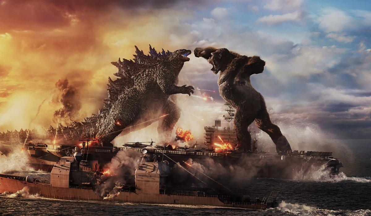 Godzilla and Kong fighting on the aircraft carrier in Godzilla vs. Kong.