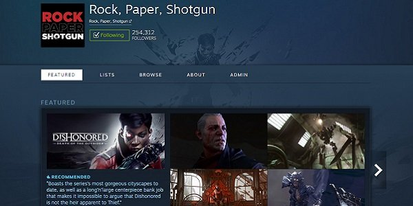A sample Steam Curator page for Rock, Paper, Shotgun