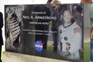 A commemorative outdoor sign was unveiled on Wednesday (Aug. 11) marking the dedication of the Neil A. Armstrong Test Facility at the former Plum Brook Station in Sandusky, Ohio.