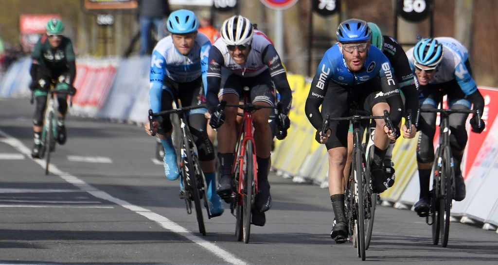 NTT Pro Cycling Italys rider Giacomo Nizzolo 2ndR sprint to the finish during the 1665 km 2nd stage of the 78th Paris Nice cycling race stage between Chevreuse and ChalettesurLoing on March 9 2020 Photo by Alain JOCARD AFP Photo by ALAIN JOCARDAFP via Getty Images