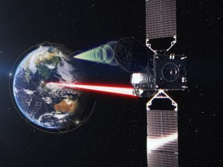 Artist's concept of the JAXA Laser Utilizing Communication System (LUCAS) payload relaying information to other satellites using laser technology.