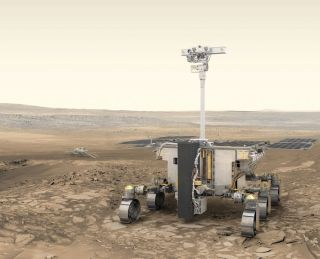 "Artist's illustration of Europe's ExoMars rover ""Rosalind Franklin"" (foreground) and Russia's stationary surface science platform ""Kazachok"" (background) on the surface of Mars."