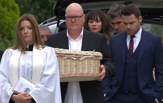 Emmerdale spoilers! Chas Dingle and Paddy attend their baby's funeral