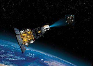 An artist's illustration of a Space Based Space Surveillance satellite for the U.S. military.