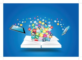 Cloud of app icons surrounded by tablet computer, cell phone and analog book
