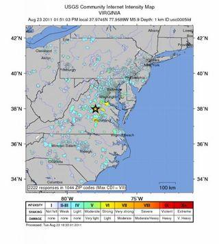 virginia, earthquake map