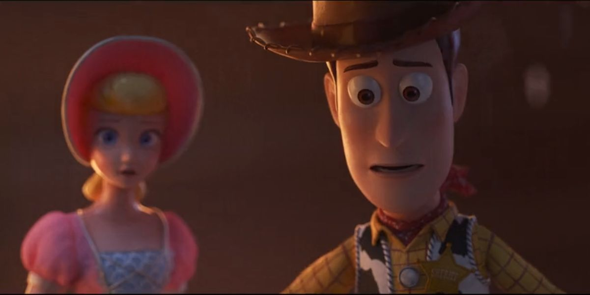 Woody and Bo Peep at the beginning of Toy Story 4