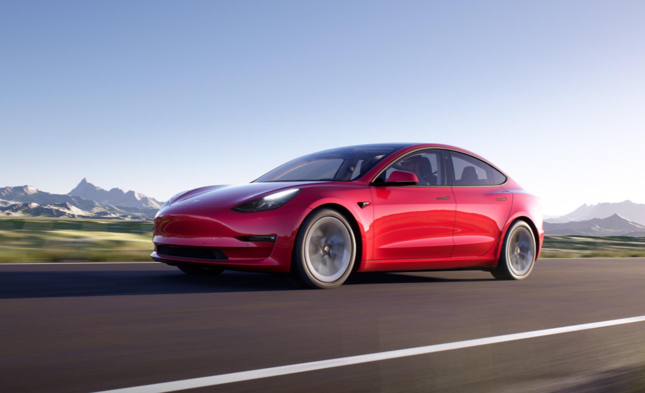 Tesla model 3 render on the road