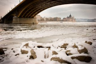 Danube River frozen