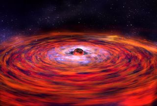 A NASA illustration shows a neutron star surrounded by a disk of matter.