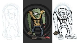 Digital sketches and final digital artwork of a cartoon zombie