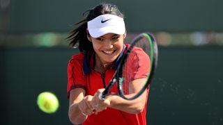 Emma Raducanu practising at Indian Wells tennis tournament