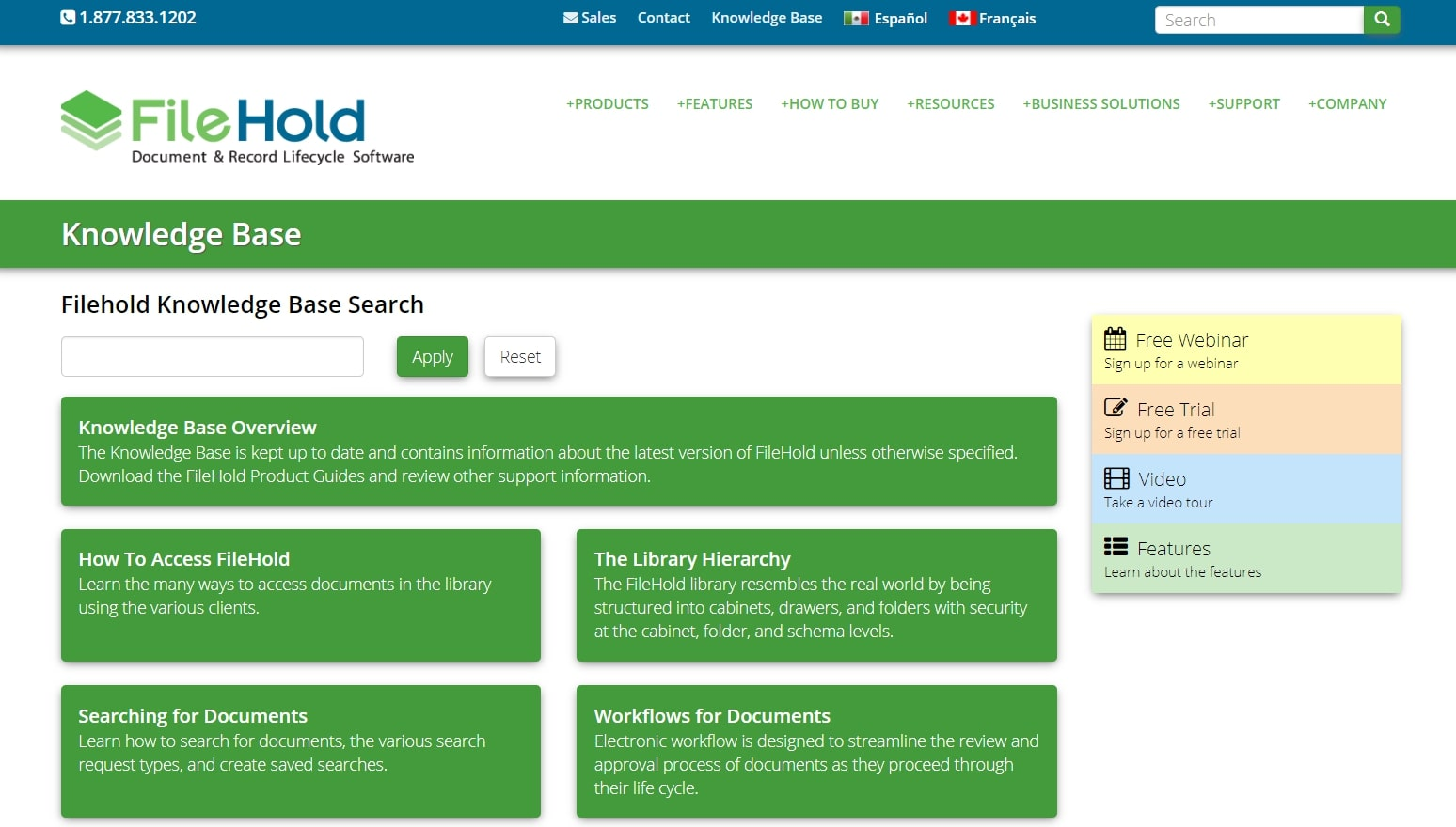 Filehold Systems knowledge page