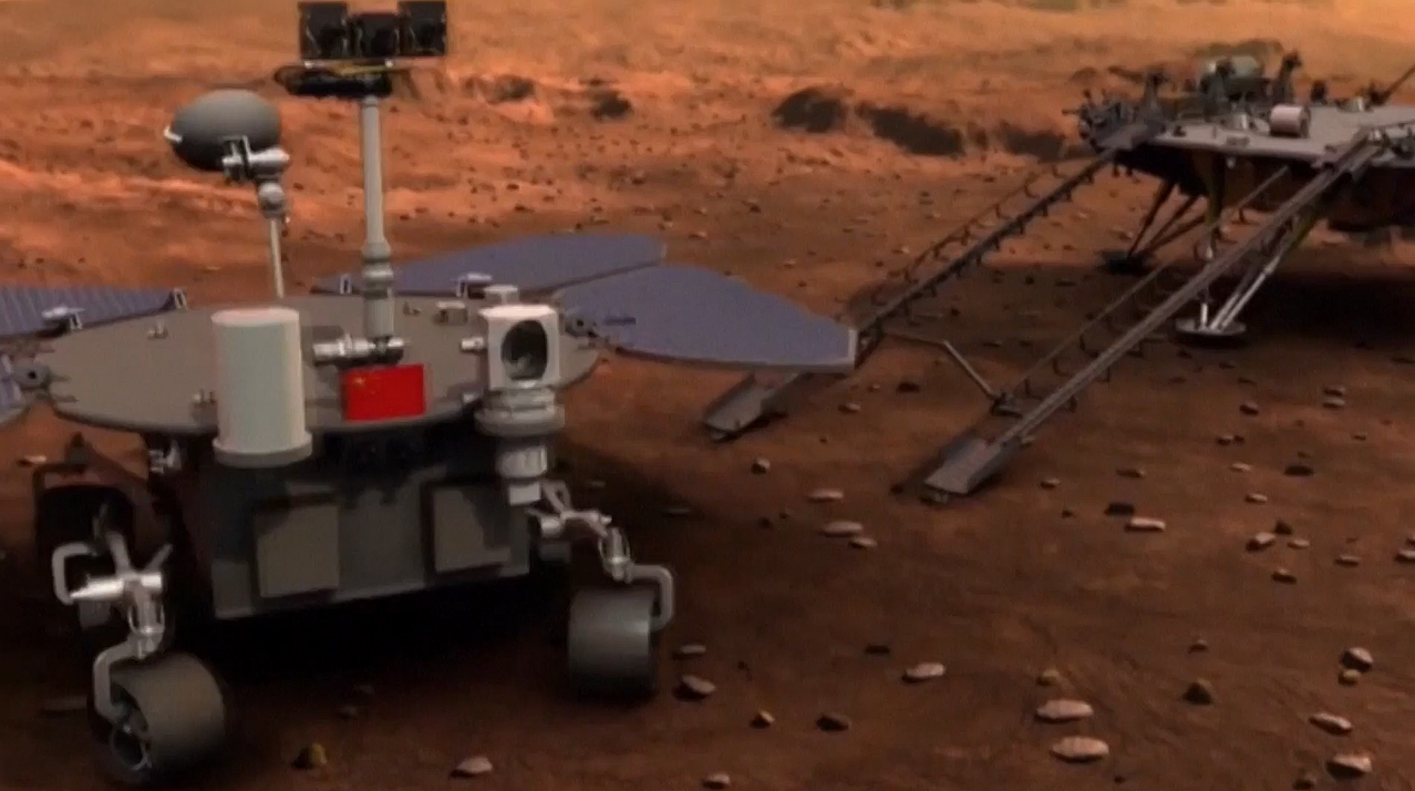 An artist's concept of China's first Mars rover mission, Tianwen-1, at the Red Planet.