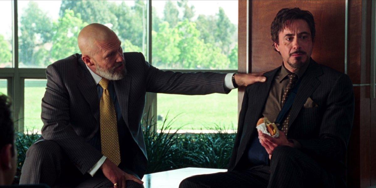 Iron Man Jeff Bridges and Robert Downey Jr talk during the press conference