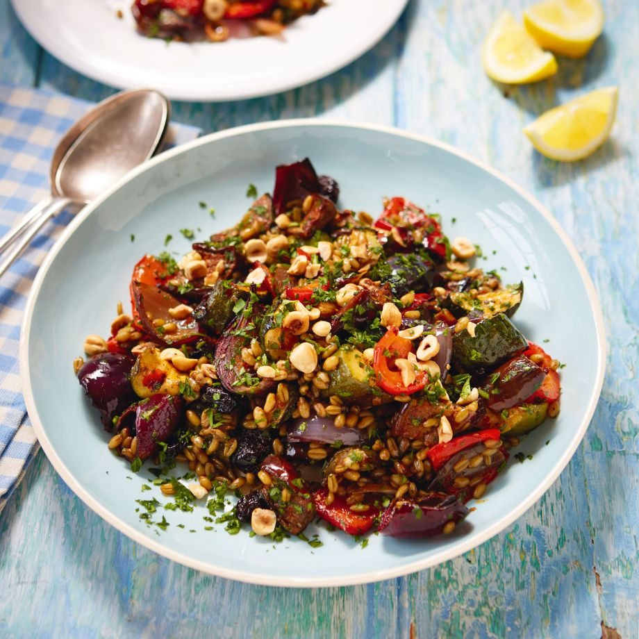 Freekeh With Harissa-Roasted Vegetables Recipe