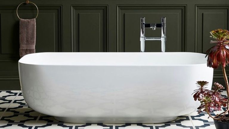 Dark Bathroom Ideas: Freestanding Bath with khaki wall paneling by Blue Sky Bathrooms