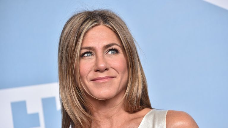 Jennifer Aniston, winner of Outstanding Performance by a Female Actor in a Drama Series for 'The Morning Show', poses in the press room during the 26th Annual Screen ActorsGuild Awards at The Shrine Auditorium on January 19, 2020 in Los Angeles, California