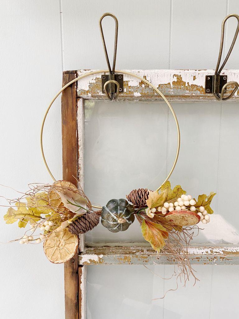 Fall fold hoop wreath with small pumpkins