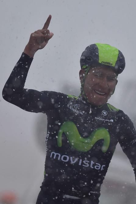 A snowy arrival fro Nairo Quintana.