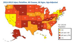 A map of injury death rates in the United States by state