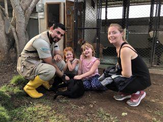 The family meet a giant land snail