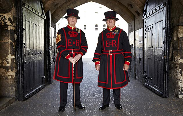 Inside the Tower - Yeoman Warders- Peter McGowran (left) and Bob Loughlin (right)