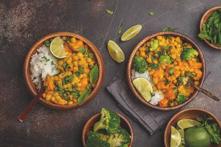 sweet potato and chickpea curry vegan recipe