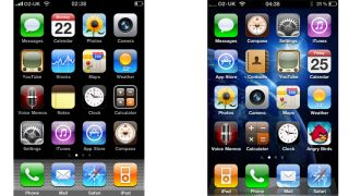 Skeuomorphism in iPhone OS 3 (L) and iOS 4 (R)