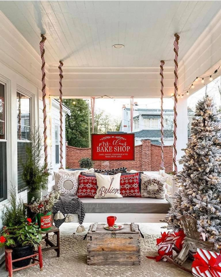 Front porch decorations christmas tree swinging chair