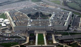 U.S. pentagon building in aerial view