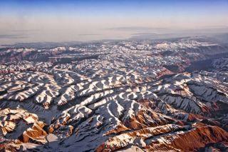Bird's eye view of the Himalayan range taken from Pakistan.