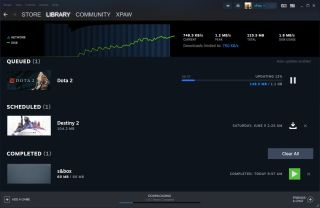 A screenshots of Steam's new download page