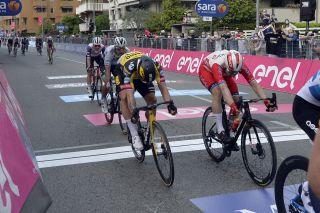 Dylan Groenewegen (Jumbo-Visma) finishes fourth in stage 2 of the 2021 Giro d'Italia in Novara