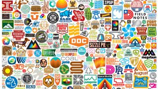 An assortment of Aaron Draplin logos