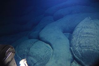 an image of a petit spot volcano found under the sea near japan
