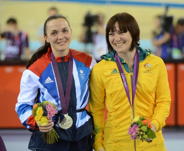 Victoria Pendleton and Anna Meares, silver and gold in sprint, London 2012 Olympic Games, track day six